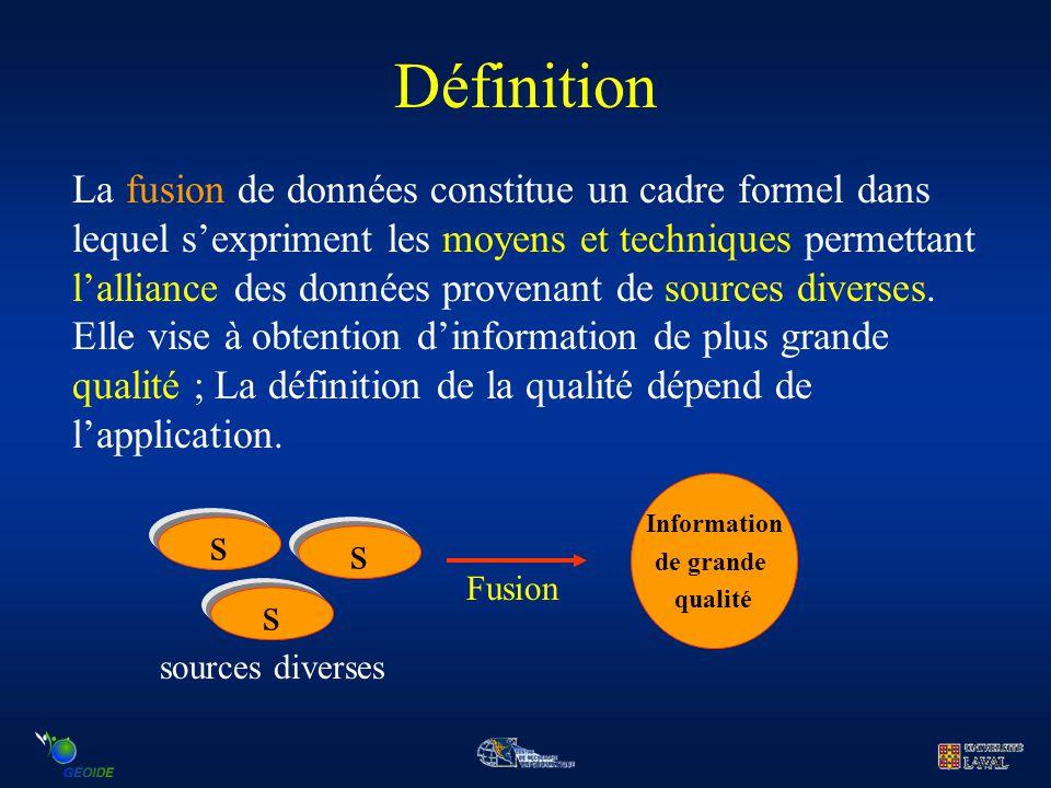 Définition La fusion de données constitue un cadre formel dans lequel s'expriment les moyens et techniques permettant l'alliance des données provenant