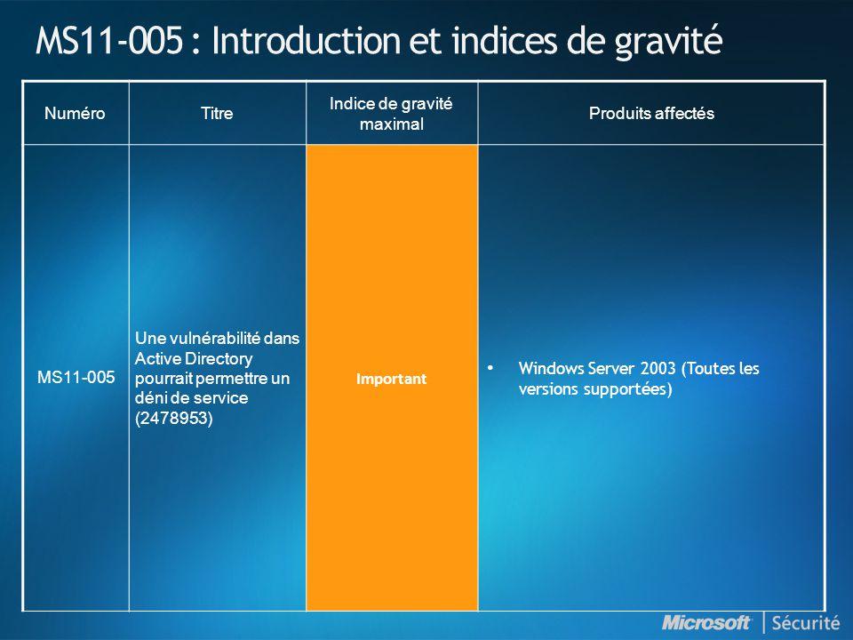 MS11-005 : Introduction et indices de gravité NuméroTitre Indice de gravité maximal Produits affectés MS11-005 Une vulnérabilité dans Active Directory pourrait permettre un déni de service (2478953) Important Windows Server 2003 (Toutes les versions supportées)