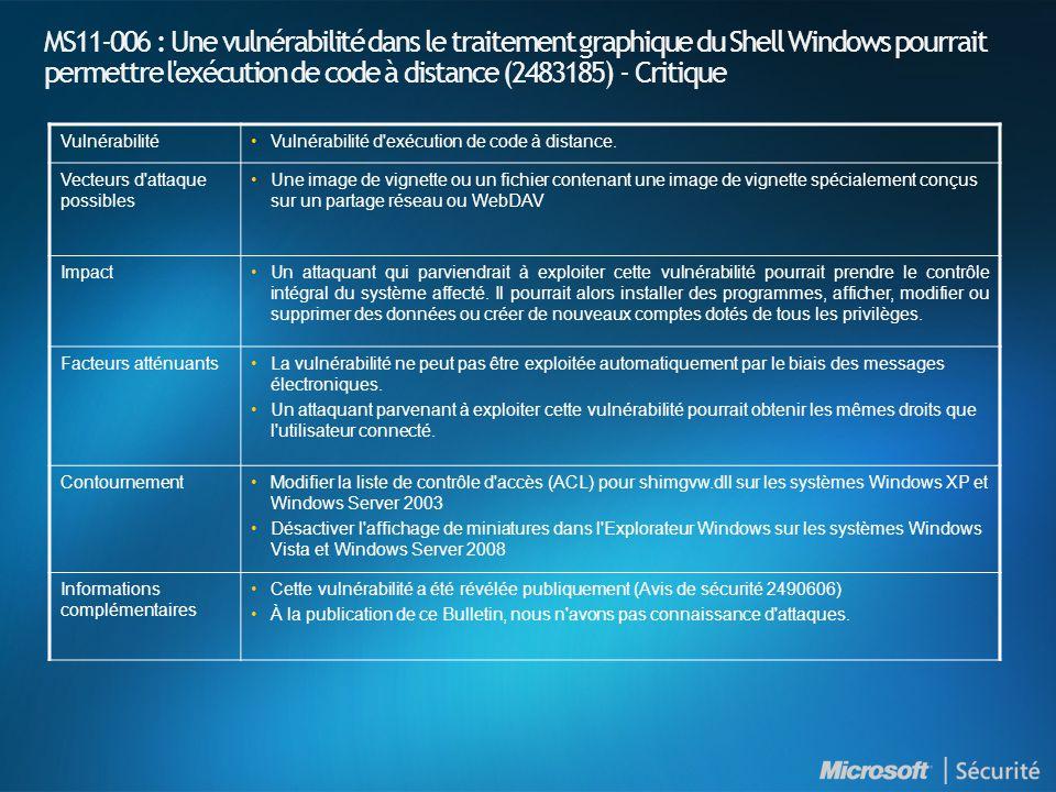 MS11-006 : Une vulnérabilité dans le traitement graphique du Shell Windows pourrait permettre l exécution de code à distance (2483185) - Critique VulnérabilitéVulnérabilité d exécution de code à distance.