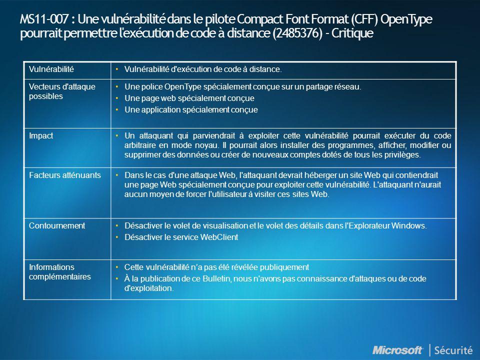 MS11-007 : Une vulnérabilité dans le pilote Compact Font Format (CFF) OpenType pourrait permettre l exécution de code à distance (2485376) - Critique VulnérabilitéVulnérabilité d exécution de code à distance.