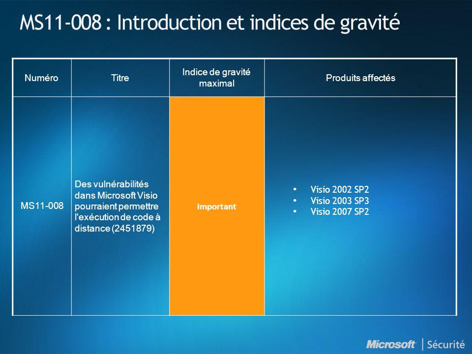MS11-008 : Introduction et indices de gravité NuméroTitre Indice de gravité maximal Produits affectés MS11-008 Des vulnérabilités dans Microsoft Visio pourraient permettre l exécution de code à distance (2451879) Important Visio 2002 SP2 Visio 2003 SP3 Visio 2007 SP2