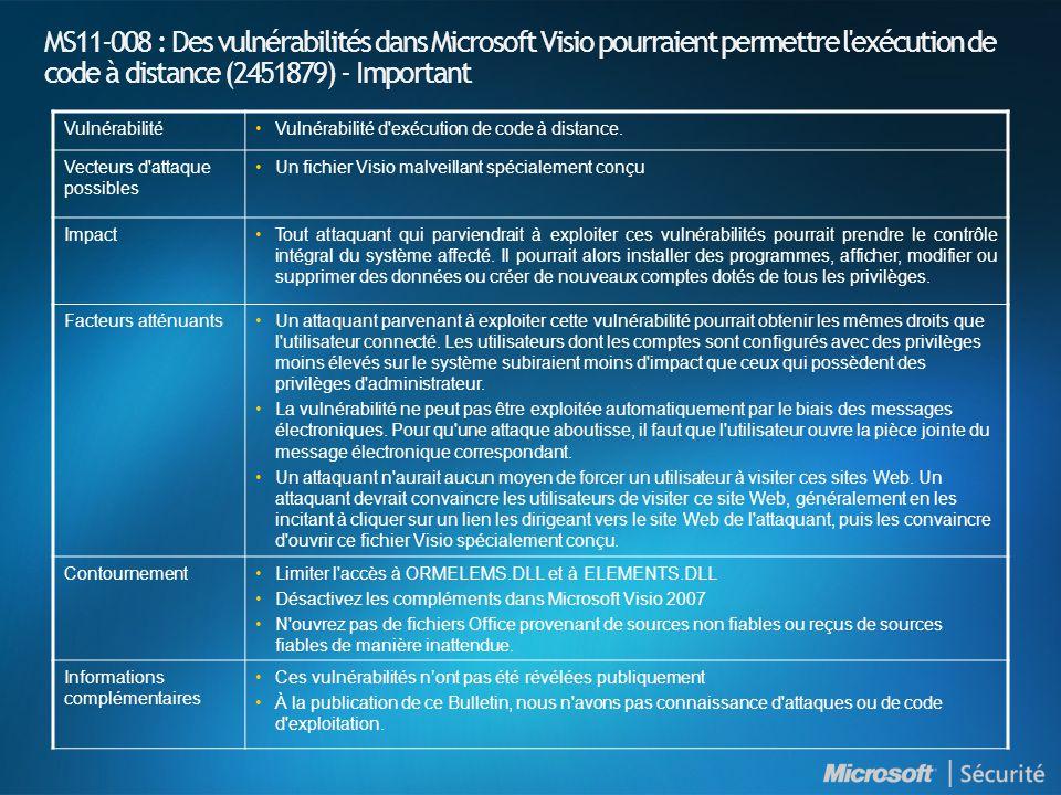 MS11-008 : Des vulnérabilités dans Microsoft Visio pourraient permettre l exécution de code à distance (2451879) - Important VulnérabilitéVulnérabilité d exécution de code à distance.