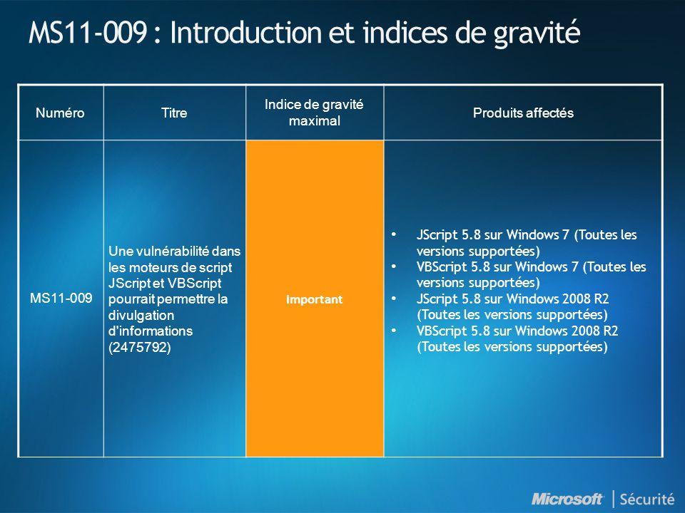 MS11-009 : Introduction et indices de gravité NuméroTitre Indice de gravité maximal Produits affectés MS11-009 Une vulnérabilité dans les moteurs de script JScript et VBScript pourrait permettre la divulgation d informations (2475792) Important JScript 5.8 sur Windows 7 (Toutes les versions supportées) VBScript 5.8 sur Windows 7 (Toutes les versions supportées) JScript 5.8 sur Windows 2008 R2 (Toutes les versions supportées) VBScript 5.8 sur Windows 2008 R2 (Toutes les versions supportées)