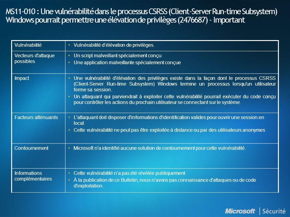 MS11-010 : Une vulnérabilité dans le processus CSRSS (Client-Server Run-time Subsystem) Windows pourrait permettre une élévation de privilèges (2476687) - Important VulnérabilitéVulnérabilité d'élévation de privilèges.