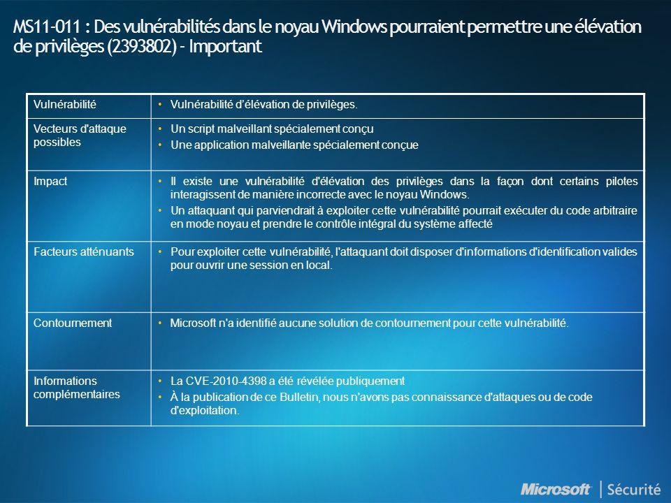 MS11-011 : Des vulnérabilités dans le noyau Windows pourraient permettre une élévation de privilèges (2393802) - Important VulnérabilitéVulnérabilité d'élévation de privilèges.