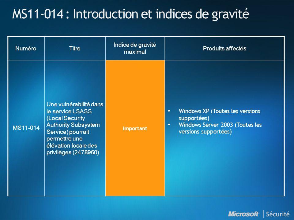 MS11-014 : Introduction et indices de gravité NuméroTitre Indice de gravité maximal Produits affectés MS11-014 Une vulnérabilité dans le service LSASS (Local Security Authority Subsystem Service) pourrait permettre une élévation locale des privilèges (2478960) Important Windows XP (Toutes les versions supportées) Windows Server 2003 (Toutes les versions supportées)