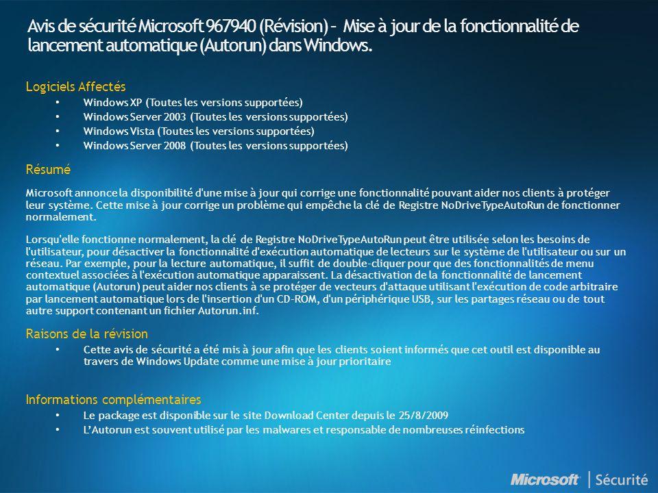 Avis de sécurité Microsoft 967940 (Révision) – Mise à jour de la fonctionnalité de lancement automatique (Autorun) dans Windows.