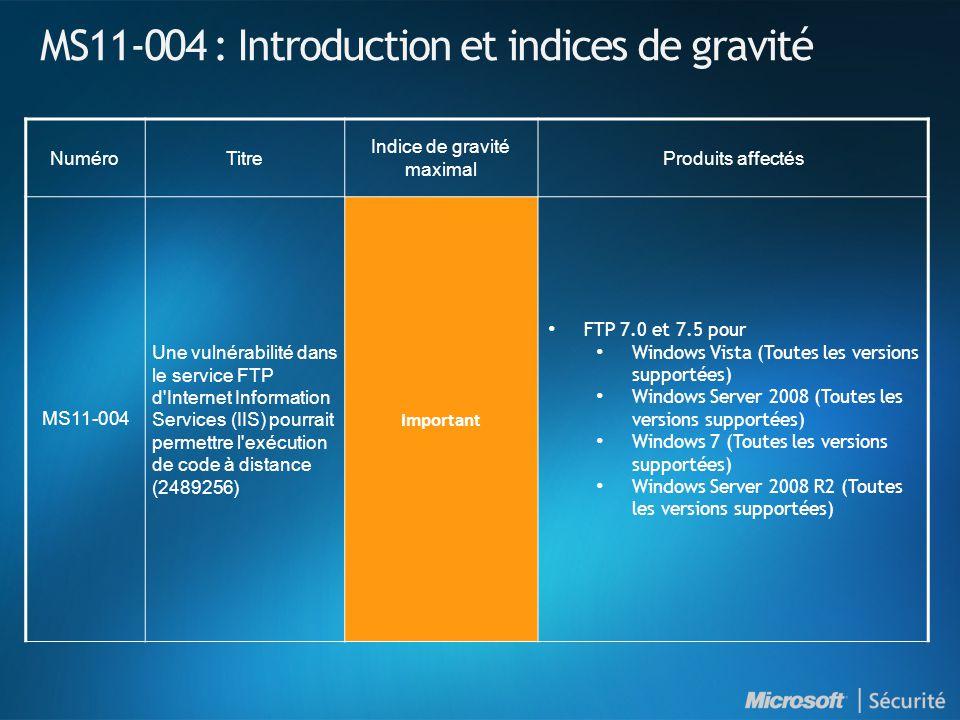 MS11-004 : Introduction et indices de gravité NuméroTitre Indice de gravité maximal Produits affectés MS11-004 Une vulnérabilité dans le service FTP d Internet Information Services (IIS) pourrait permettre l exécution de code à distance (2489256) Important FTP 7.0 et 7.5 pour Windows Vista (Toutes les versions supportées) Windows Server 2008 (Toutes les versions supportées) Windows 7 (Toutes les versions supportées) Windows Server 2008 R2 (Toutes les versions supportées)