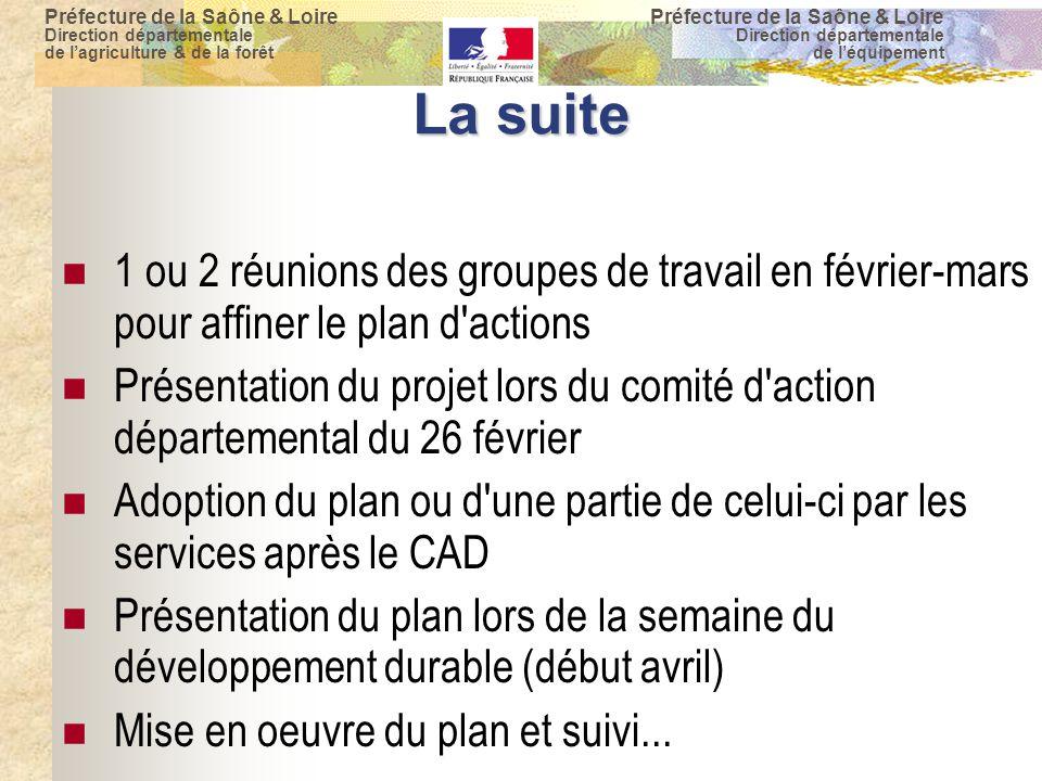 Préfecture de la Saône & Loire Direction départementale de l'agriculture & de la forêt Préfecture de la Saône & Loire Direction départementale de l'équipement La suite 1 ou 2 réunions des groupes de travail en février-mars pour affiner le plan d actions Présentation du projet lors du comité d action départemental du 26 février Adoption du plan ou d une partie de celui-ci par les services après le CAD Présentation du plan lors de la semaine du développement durable (début avril)  Mise en oeuvre du plan et suivi...