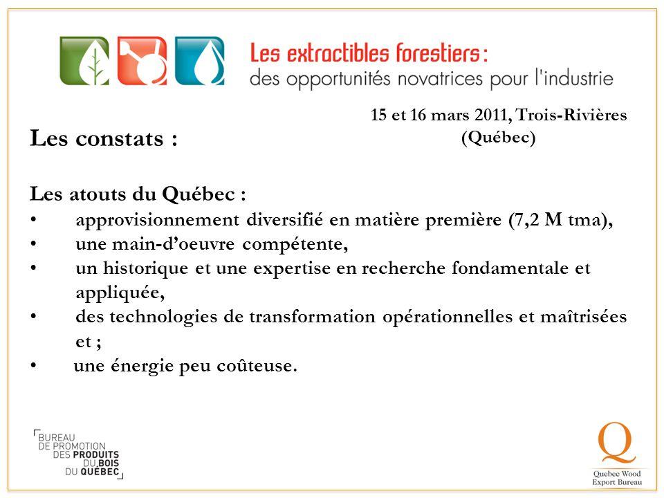 Les constats : Les atouts du Québec : approvisionnement diversifié en matière première (7,2 M tma), une main-d'oeuvre compétente, un historique et une
