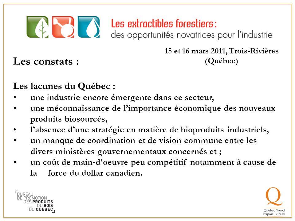 Les constats : Les lacunes du Québec : une industrie encore émergente dans ce secteur, une méconnaissance de l'importance économique des nouveaux prod