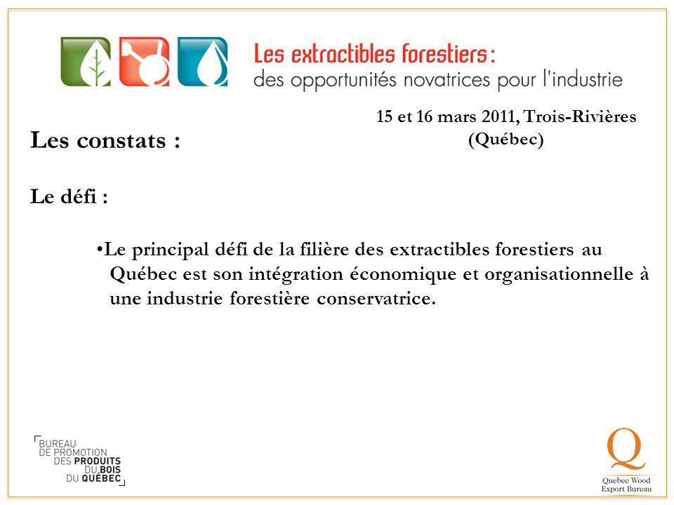 Les constats : Le défi : Le principal défi de la filière des extractibles forestiers au Québec est son intégration économique et organisationnelle à u