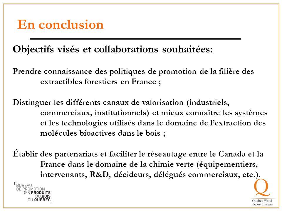 En conclusion Objectifs visés et collaborations souhaitées: Prendre connaissance des politiques de promotion de la filière des extractibles forestiers