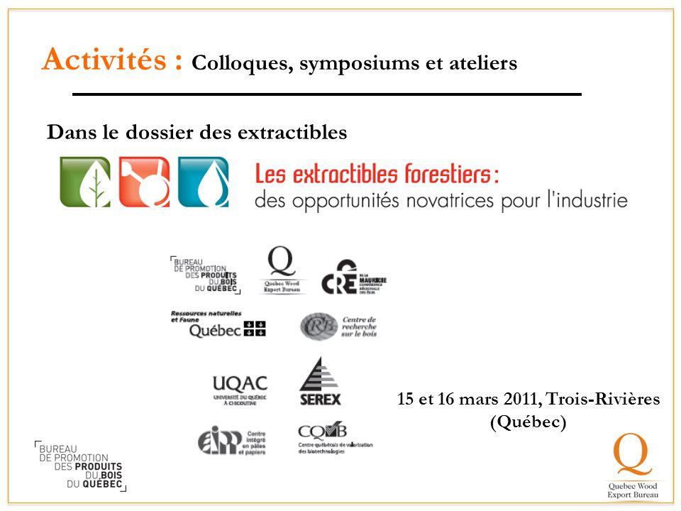 Activités : Colloques, symposiums et ateliers Dans le dossier des extractibles Plusieurs partenaires 15 et 16 mars 2011, Trois-Rivières (Québec)