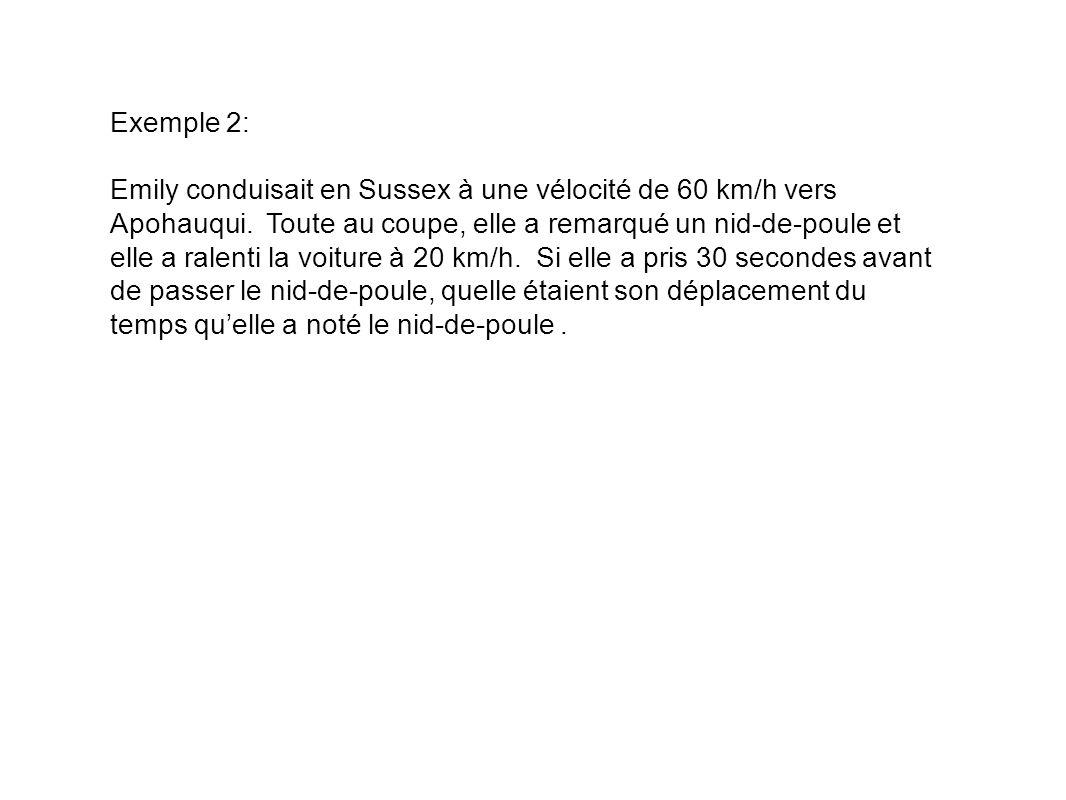 Exemple 2: Emily conduisait en Sussex à une vélocité de 60 km/h vers Apohauqui.