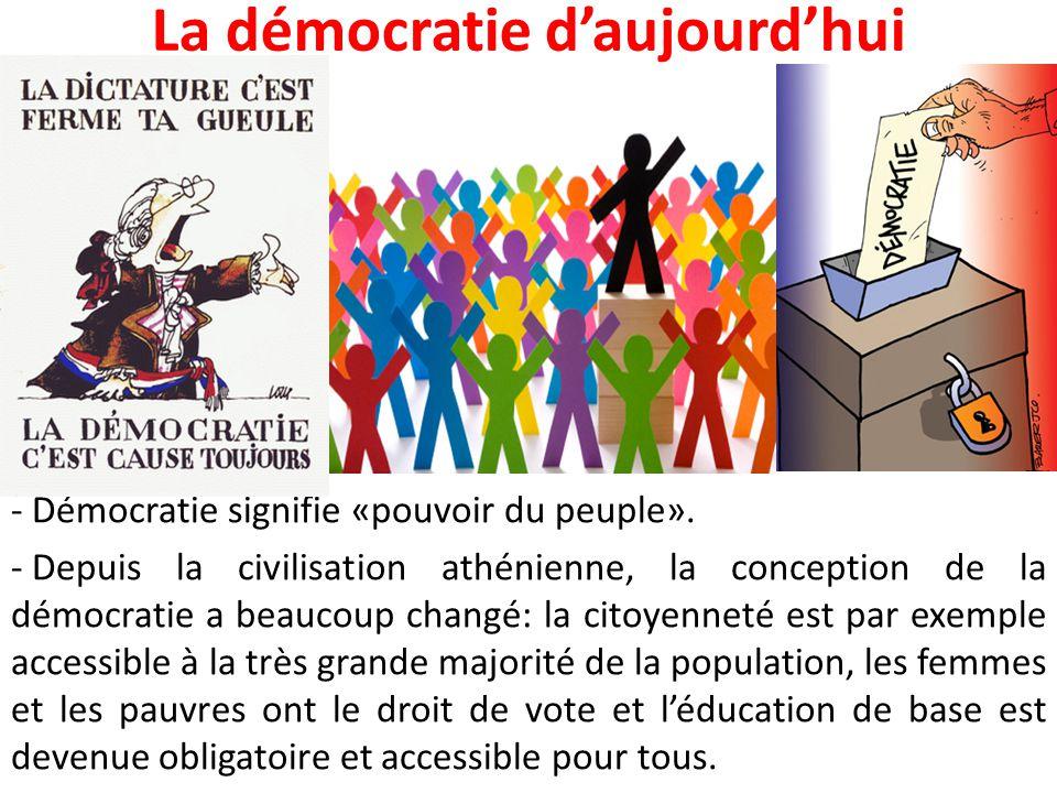 La démocratie d'aujourd'hui - Démocratie signifie «pouvoir du peuple». - Depuis la civilisation athénienne, la conception de la démocratie a beaucoup