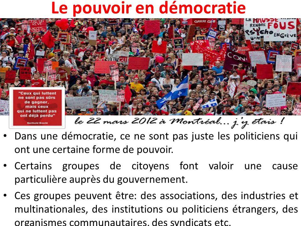 Le pouvoir en démocratie Dans une démocratie, ce ne sont pas juste les politiciens qui ont une certaine forme de pouvoir. Certains groupes de citoyens