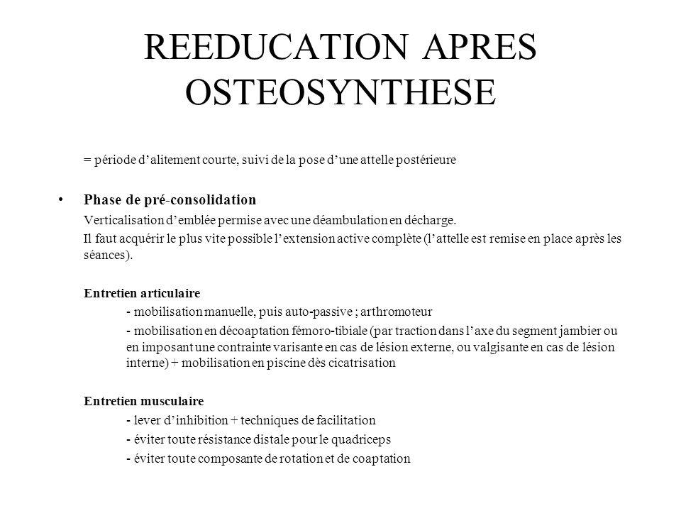 REEDUCATION APRES OSTEOSYNTHESE = période d'alitement courte, suivi de la pose d'une attelle postérieure Phase de pré-consolidation Verticalisation d'