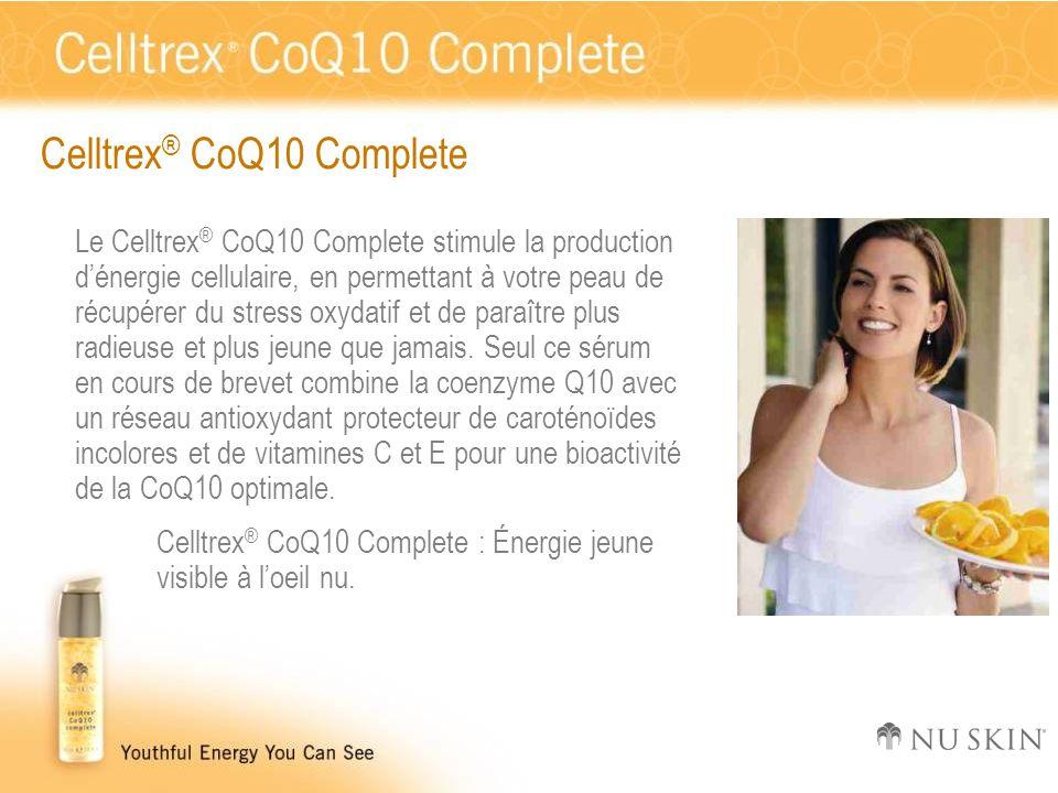 Celltrex ® CoQ10 Complete Le Celltrex ® CoQ10 Complete stimule la production d'énergie cellulaire, en permettant à votre peau de récupérer du stress o