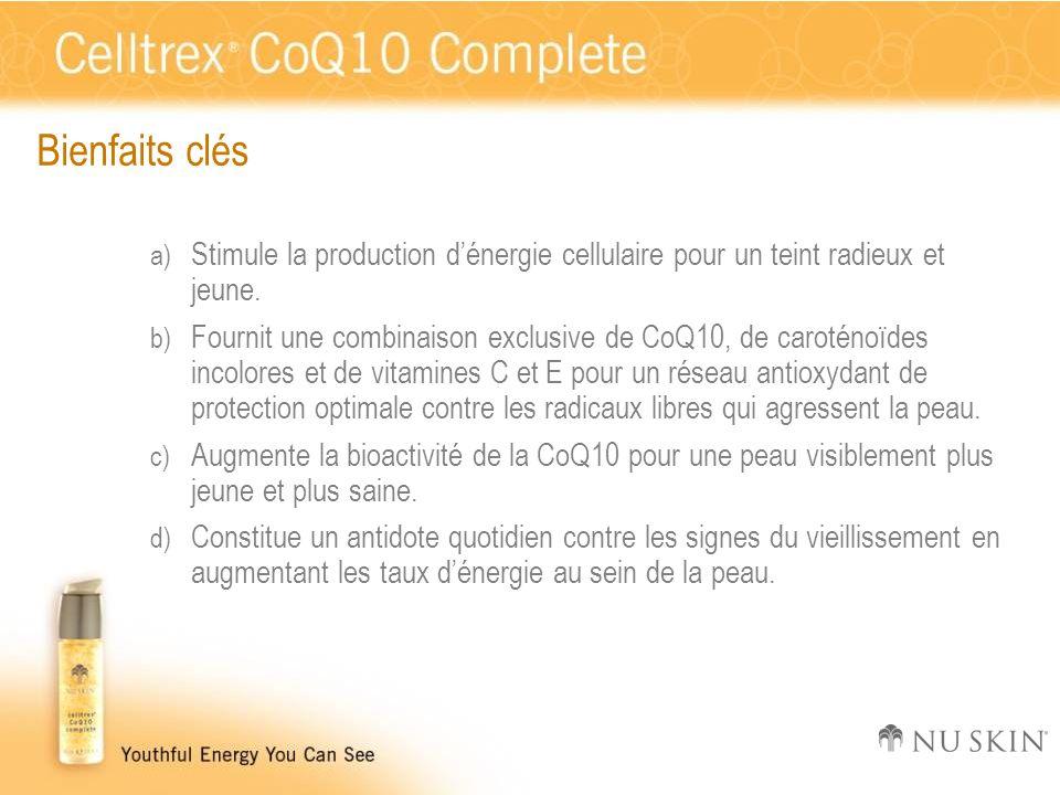 Bienfaits clés a) Stimule la production d'énergie cellulaire pour un teint radieux et jeune. b) Fournit une combinaison exclusive de CoQ10, de carotén