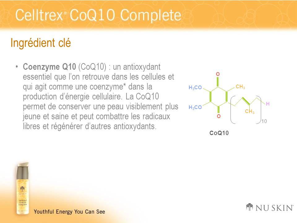 Ingrédient clé Coenzyme Q10 (CoQ10) : un antioxydant essentiel que l'on retrouve dans les cellules et qui agit comme une coenzyme* dans la production