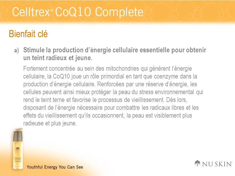 Bienfait clé a) Stimule la production d'énergie cellulaire essentielle pour obtenir un teint radieux et jeune. Fortement concentrée au sein des mitoch