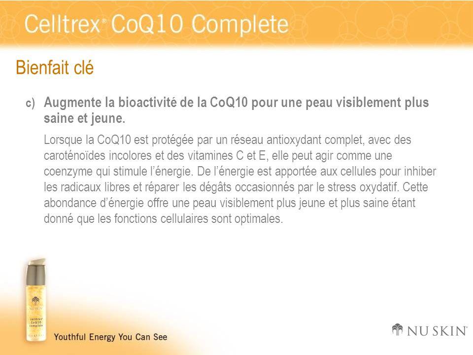 Bienfait clé c) Augmente la bioactivité de la CoQ10 pour une peau visiblement plus saine et jeune. Lorsque la CoQ10 est protégée par un réseau antioxy