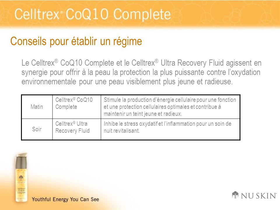 Conseils pour établir un régime Le Celltrex ® CoQ10 Complete et le Celltrex ® Ultra Recovery Fluid agissent en synergie pour offrir à la peau la prote