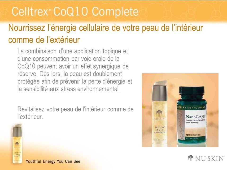 Nourrissez l'énergie cellulaire de votre peau de l'intérieur comme de l'extérieur La combinaison d'une application topique et d'une consommation par v