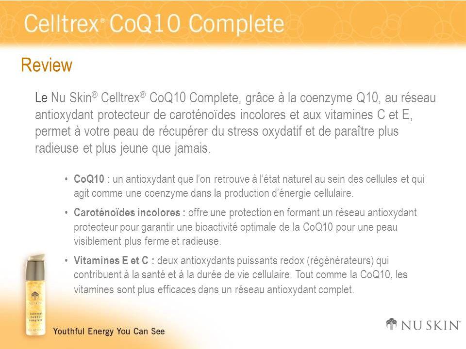 Review Le Nu Skin ® Celltrex ® CoQ10 Complete, grâce à la coenzyme Q10, au réseau antioxydant protecteur de caroténoïdes incolores et aux vitamines C