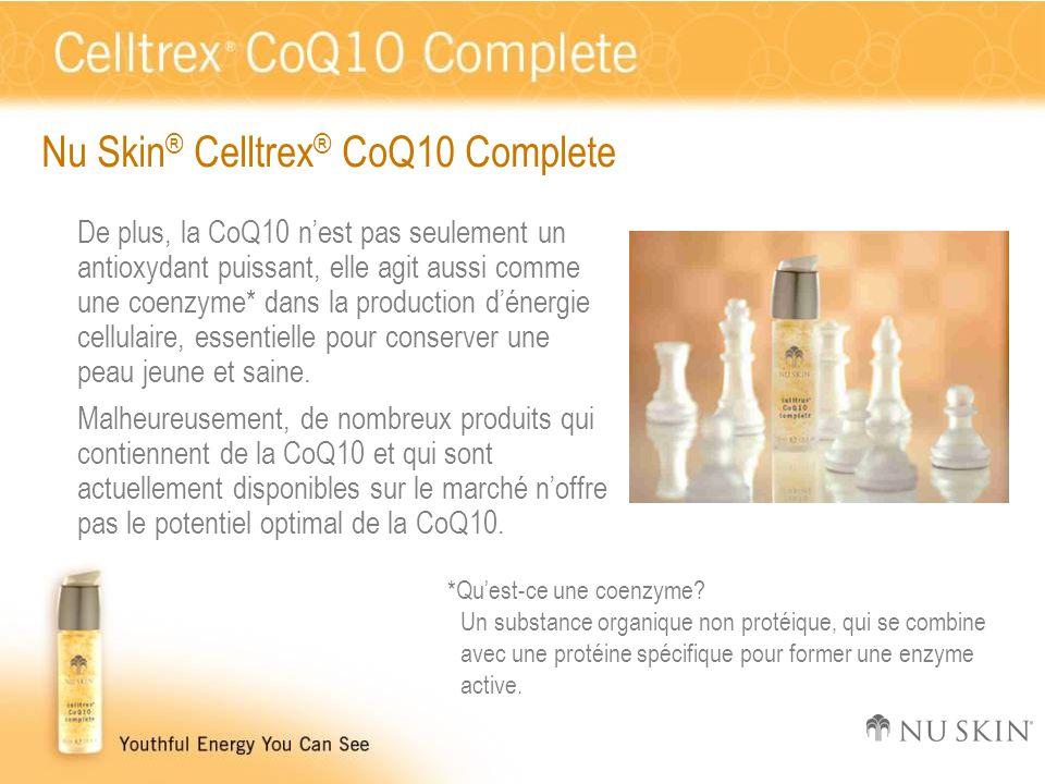Nu Skin ® Celltrex ® CoQ10 Complete De plus, la CoQ10 n'est pas seulement un antioxydant puissant, elle agit aussi comme une coenzyme* dans la product