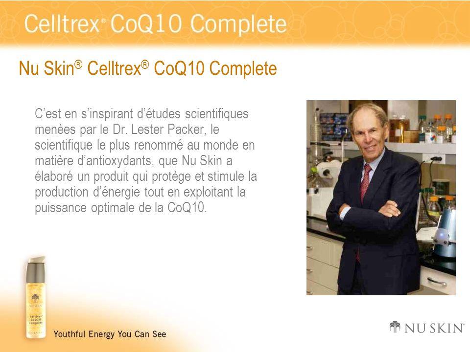 Nu Skin ® Celltrex ® CoQ10 Complete C'est en s'inspirant d'études scientifiques menées par le Dr. Lester Packer, le scientifique le plus renommé au mo