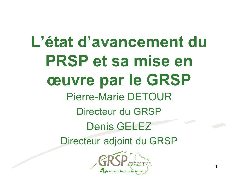1 L'état d'avancement du PRSP et sa mise en œuvre par le GRSP Pierre-Marie DETOUR Directeur du GRSP Denis GELEZ Directeur adjoint du GRSP