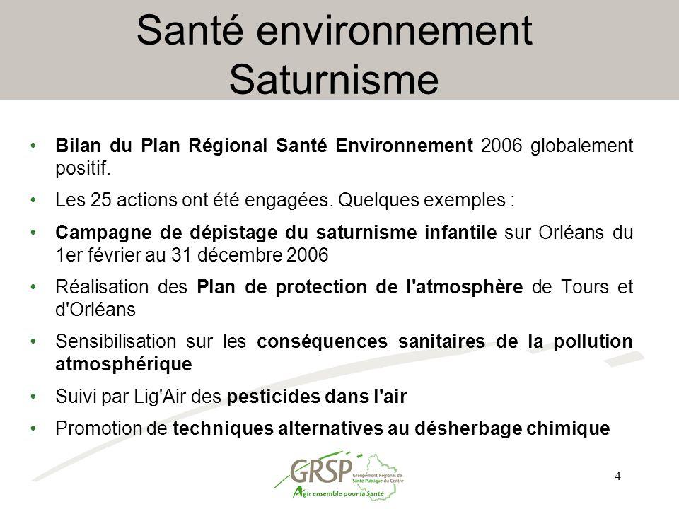 4 Santé environnement Saturnisme Bilan du Plan Régional Santé Environnement 2006 globalement positif. Les 25 actions ont été engagées. Quelques exempl