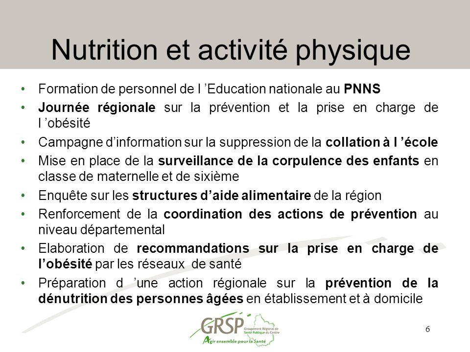 6 Nutrition et activité physique Formation de personnel de l 'Education nationale au PNNS Journée régionale sur la prévention et la prise en charge de