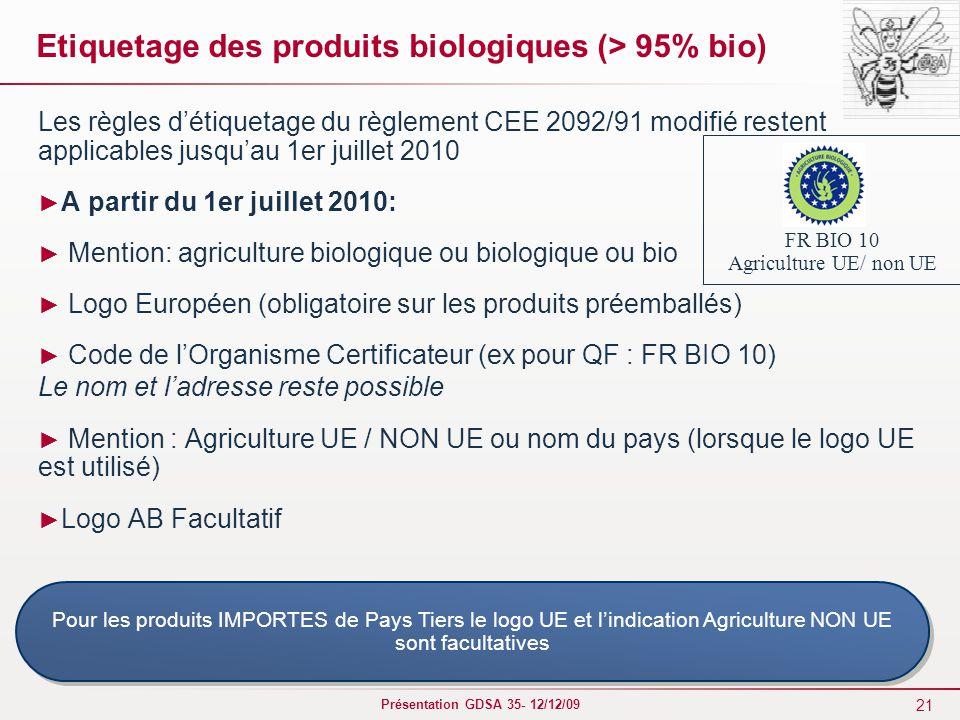 21 Présentation GDSA 35- 12/12/09 Etiquetage des produits biologiques (> 95% bio) Les règles d'étiquetage du règlement CEE 2092/91 modifié restent applicables jusqu'au 1er juillet 2010 ► A partir du 1er juillet 2010: ► Mention: agriculture biologique ou biologique ou bio ► Logo Européen (obligatoire sur les produits préemballés) ► Code de l'Organisme Certificateur (ex pour QF : FR BIO 10) Le nom et l'adresse reste possible ► Mention : Agriculture UE / NON UE ou nom du pays (lorsque le logo UE est utilisé) ► Logo AB Facultatif Pour les produits IMPORTES de Pays Tiers le logo UE et l'indication Agriculture NON UE sont facultatives FR BIO 10 Agriculture UE/ non UE