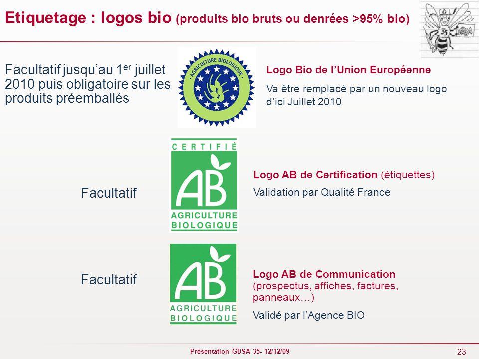 23 Présentation GDSA 35- 12/12/09 Etiquetage : logos bio (produits bio bruts ou denrées >95% bio) Logo Bio de l'Union Européenne Va être remplacé par