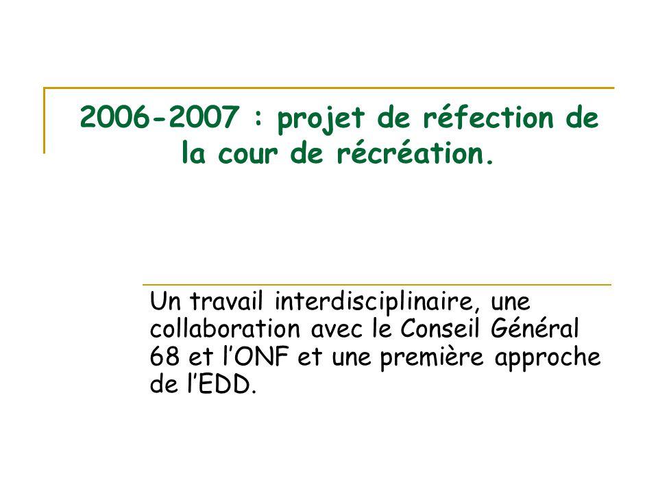 2006-2007 : projet de réfection de la cour de récréation. Un travail interdisciplinaire, une collaboration avec le Conseil Général 68 et l'ONF et une