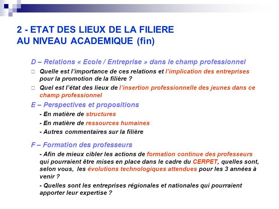 2 - ETAT DES LIEUX DE LA FILIERE AU NIVEAU ACADEMIQUE (fin) D – Relations « Ecole / Entreprise » dans le champ professionnel  Quelle est l'importance de ces relations et l'implication des entreprises pour la promotion de la filière .