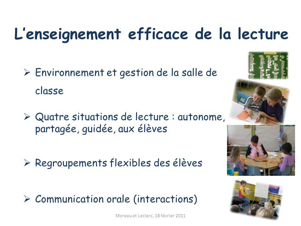 L'enseignement efficace de la lecture Moreau et Leclerc, 18 février 2011  Environnement et gestion de la salle de classe  Quatre situations de lectu