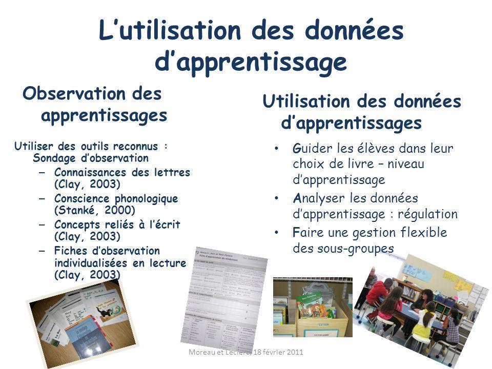 L'utilisation des données d'apprentissage Observation des apprentissages Moreau et Leclerc, 18 février 2011 Utilisation des données d'apprentissages U