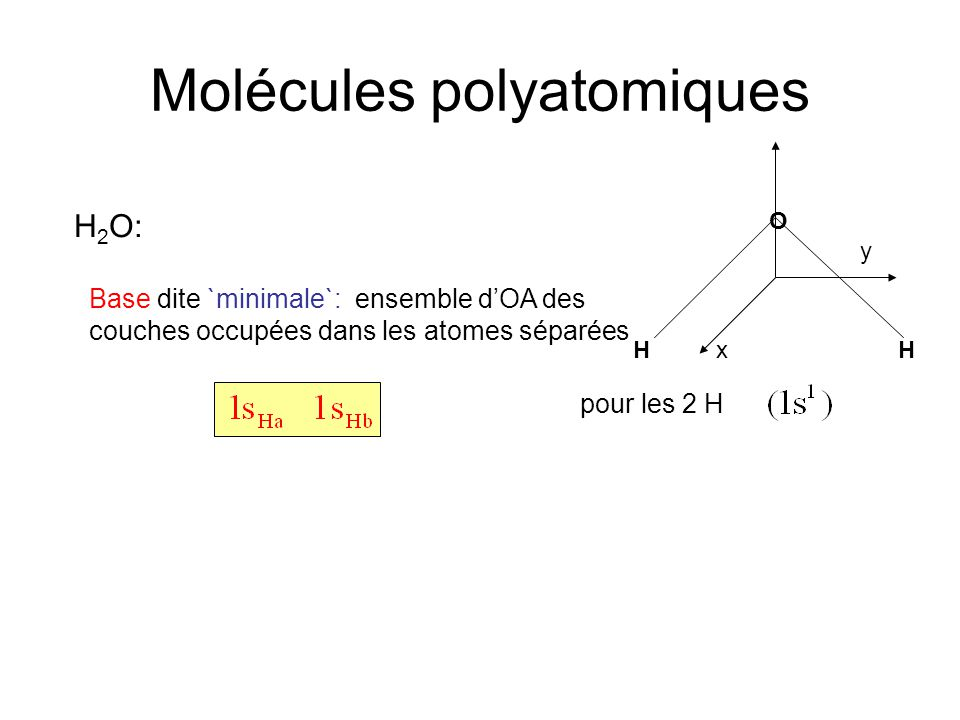 Molécules polyatomiques H 2 O: Base dite `minimale`: ensemble d'OA des couches occupées dans les atomes séparées pour les 2 H HH O x y
