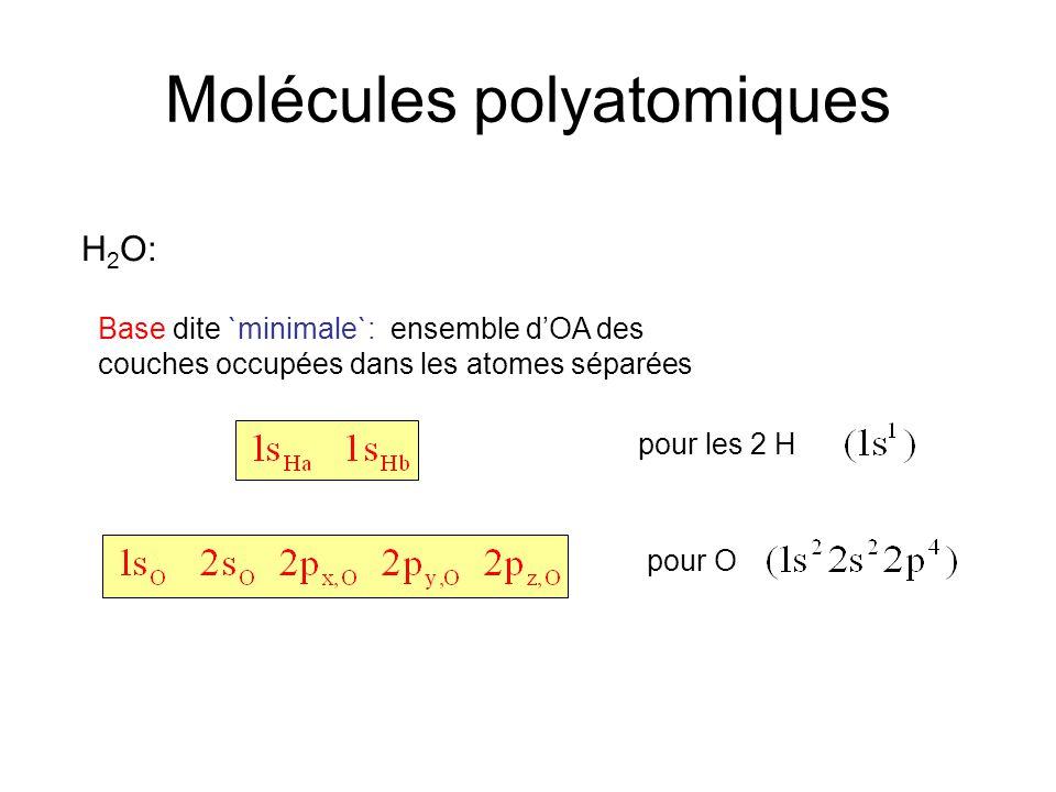 Molécules polyatomiques H 2 O: Base dite `minimale`: ensemble d'OA des couches occupées dans les atomes séparées pour O pour les 2 H (Note: concept applicable au molécules AB aussi)