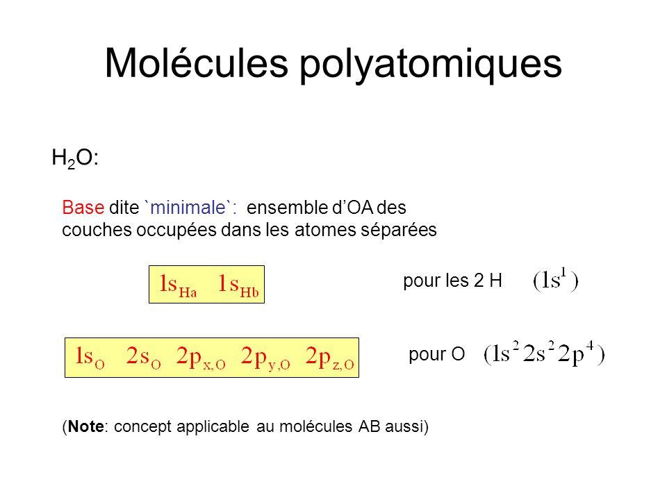 Molécules polyatomiques H 2 O: Base dite `minimale`: ensemble d'OA des couches occupées dans les atomes séparées pour O pour les 2 H (Note: concept ap