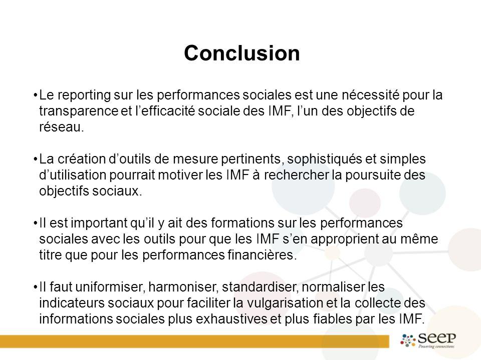 Conclusion Le reporting sur les performances sociales est une nécessité pour la transparence et l'efficacité sociale des IMF, l'un des objectifs de réseau.