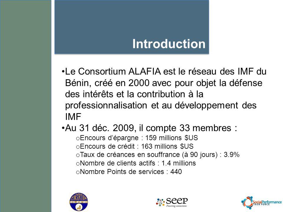 Le Consortium ALAFIA est le réseau des IMF du Bénin, créé en 2000 avec pour objet la défense des intérêts et la contribution à la professionnalisation et au développement des IMF Au 31 déc.