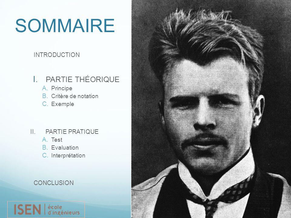 Replace photo SOMMAIRE INTRODUCTION I. PARTIE THÉORIQUE A. Principe B. Critère de notation C. Exemple II. PARTIE PRATIQUE  Test  Evaluation  Int