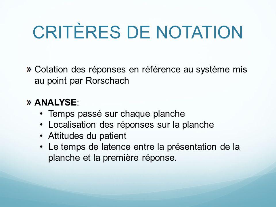 CRITÈRES DE NOTATION Cotation des réponses en référence au système mis au point par Rorschach ANALYSE: Temps passé sur chaque planche Localisation des
