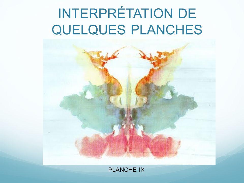 INTERPRÉTATION DE QUELQUES PLANCHES PLANCHE IX