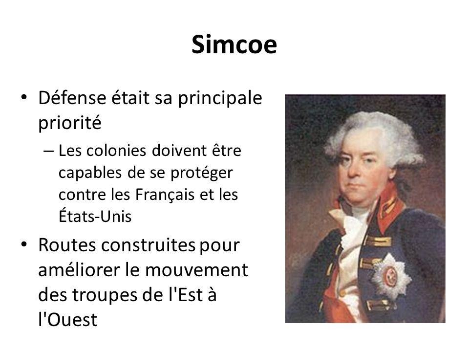 Simcoe Défense était sa principale priorité – Les colonies doivent être capables de se protéger contre les Français et les États-Unis Routes construit